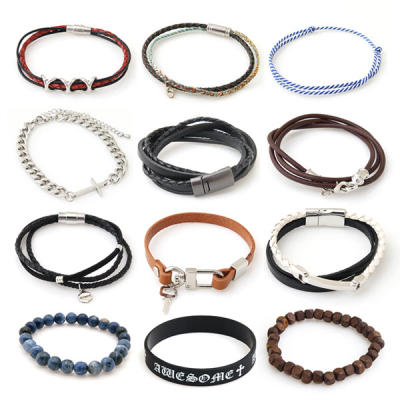 bracelet / leather / gemstone / rubber / metal / surgical steel / wood /  multi-strap / casual